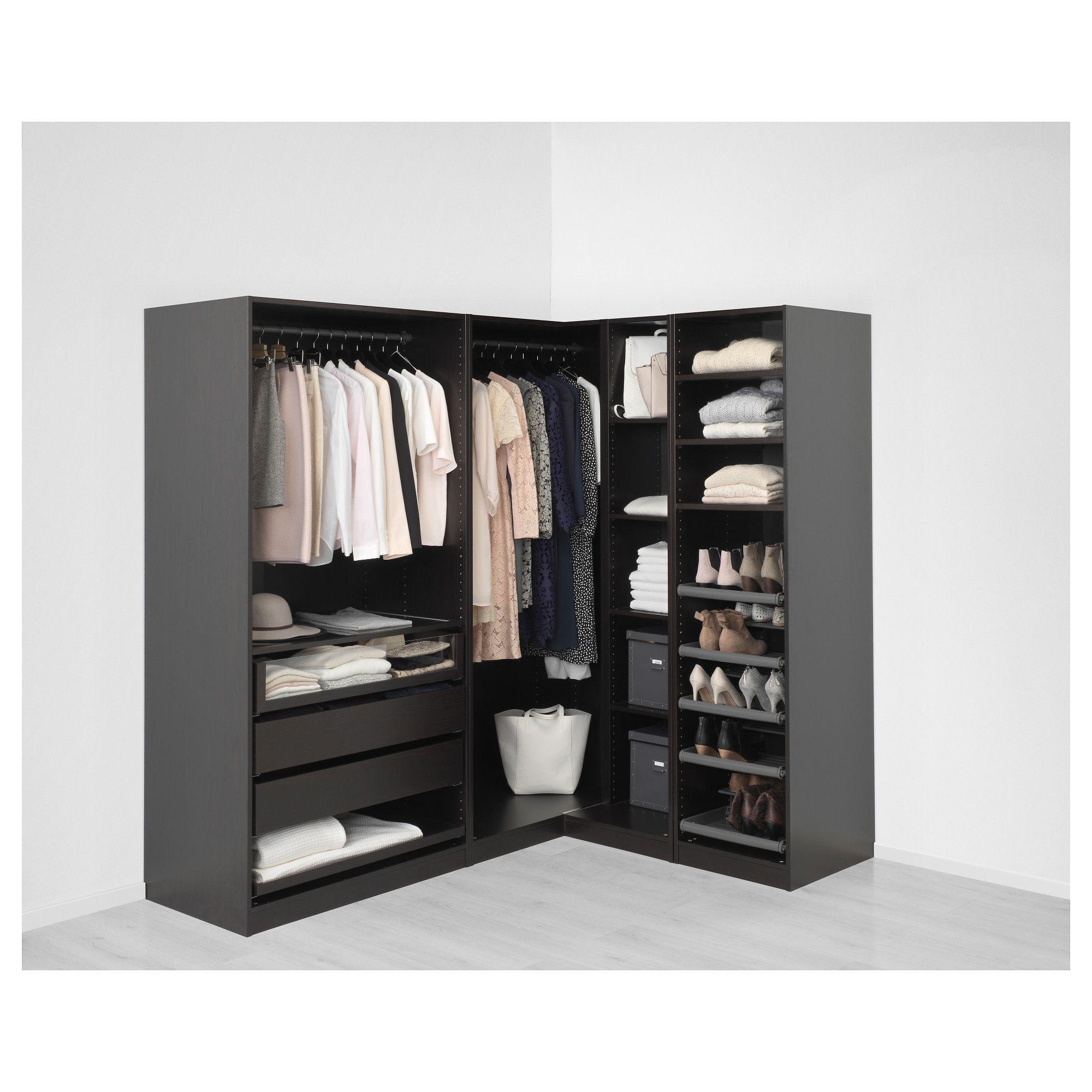 ikea - pax black-brown corner wardrobe frame colour: black-brown