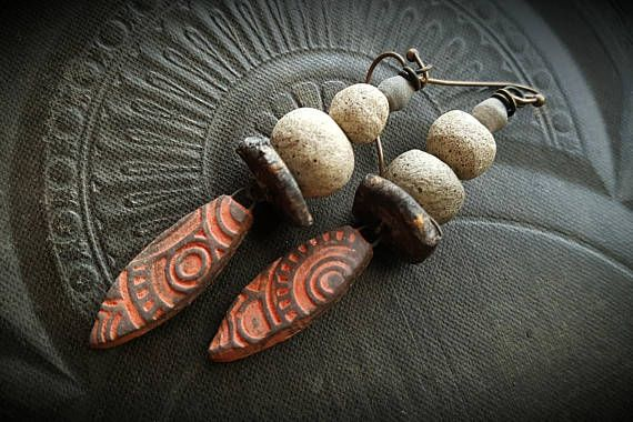 Rustic Tribal Clay Red Clay Clay Beads Old Beads Artisan