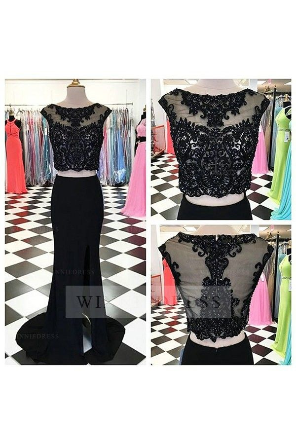 Cap Sleeve Lace Beading #CropTop Satin Chiffon Skirt Black Long Fitted Side Slit…