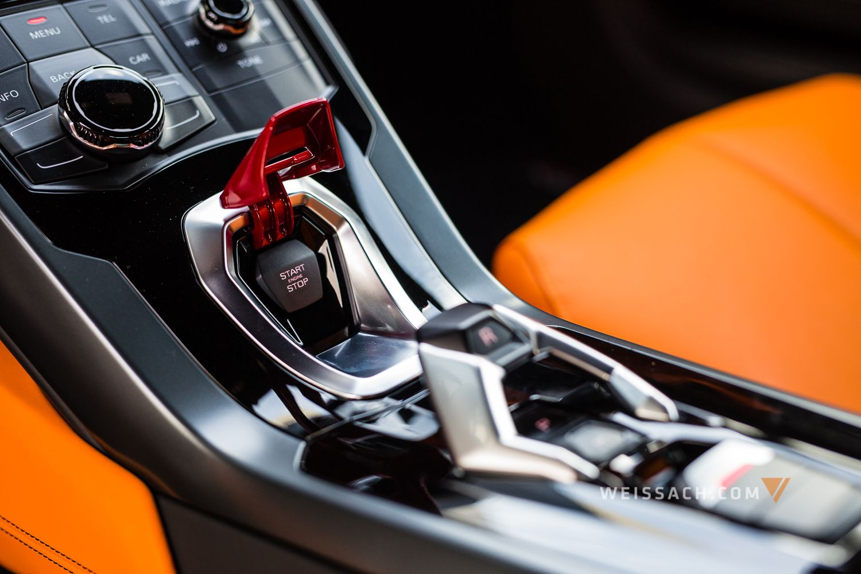 grigio lynx finish with sportivo bicolor black orange interior the lamborghini huracan invokes