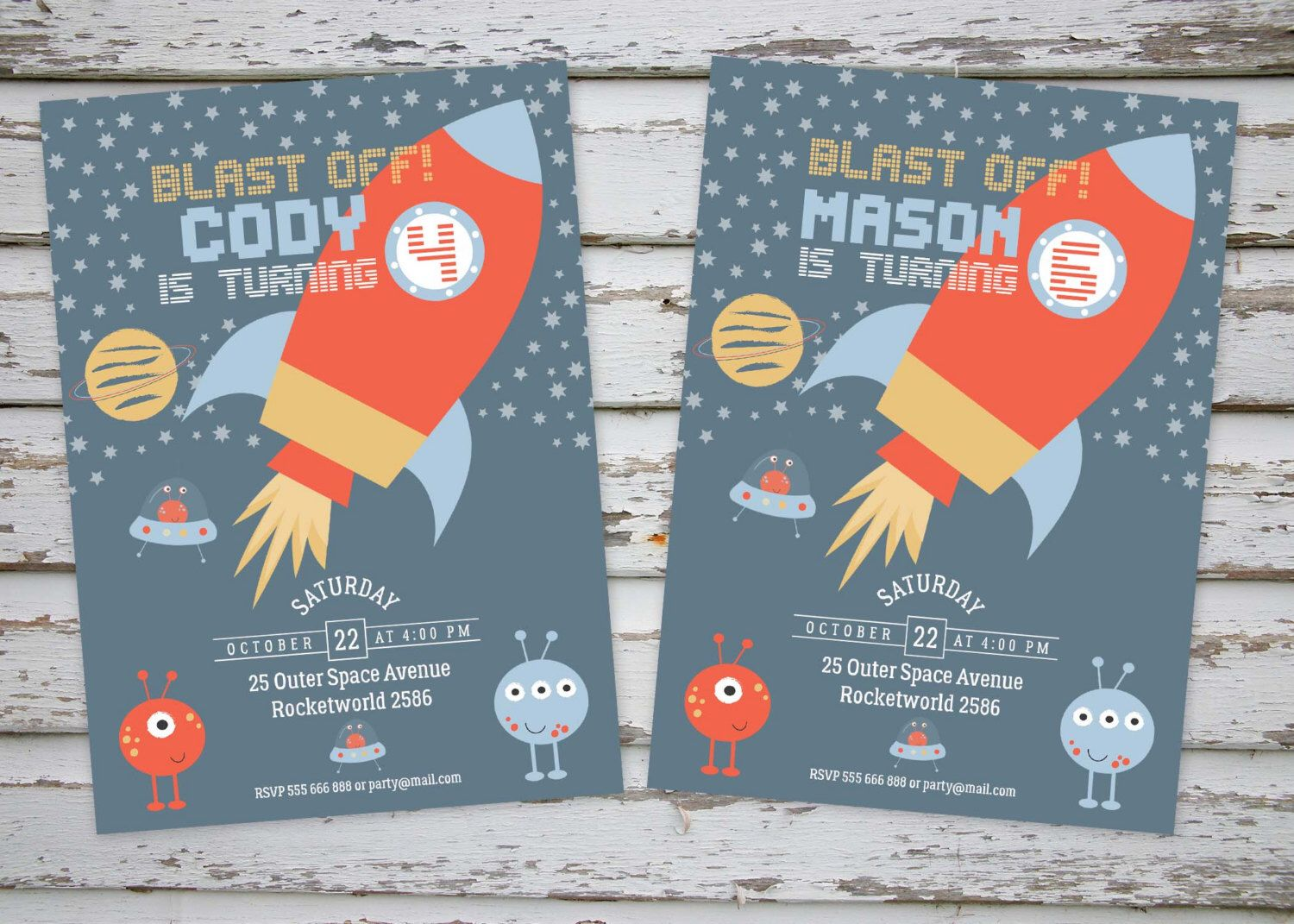 Space Rocket Birthday Invitation, Outer Space Birthday Party ...