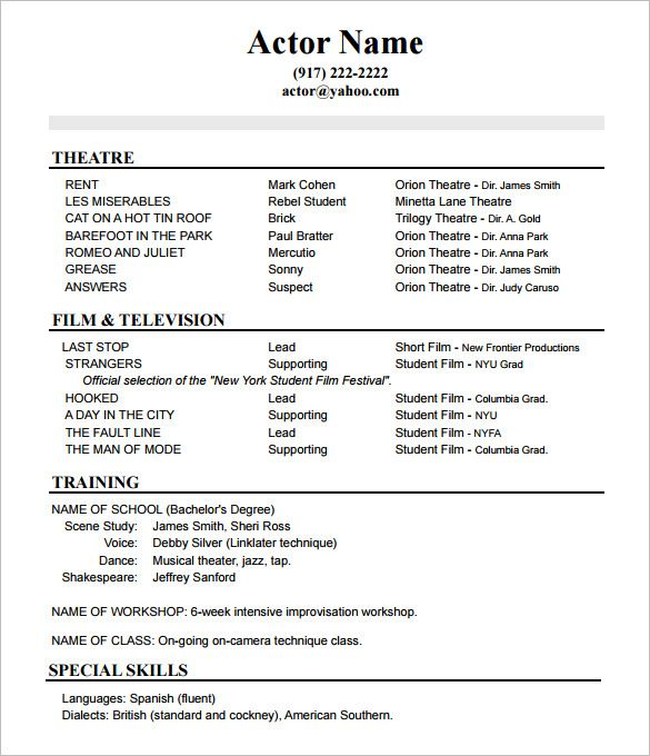 Resume Format Actor Actor Format Resume Resumeformat Acting Resume Acting Resume Template Sample Resume Templates