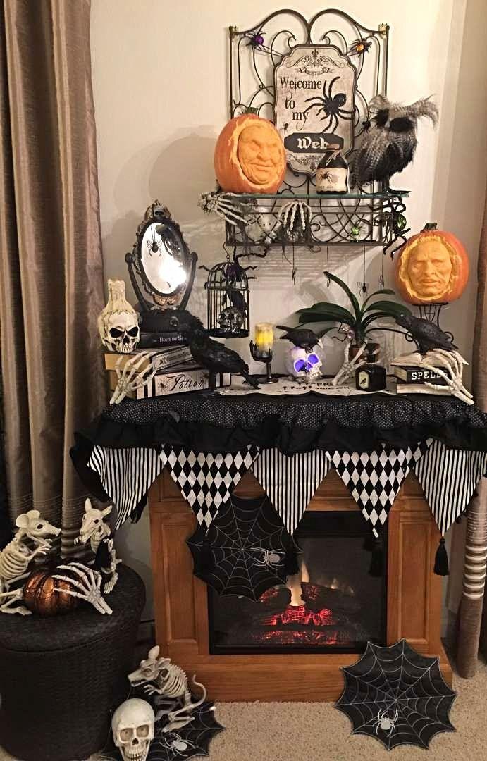 Photo Credit Fran Welin Grandin Road Spooky Decor Challenge 2016 Spooky Decor Halloween Mantel Halloween Decorations