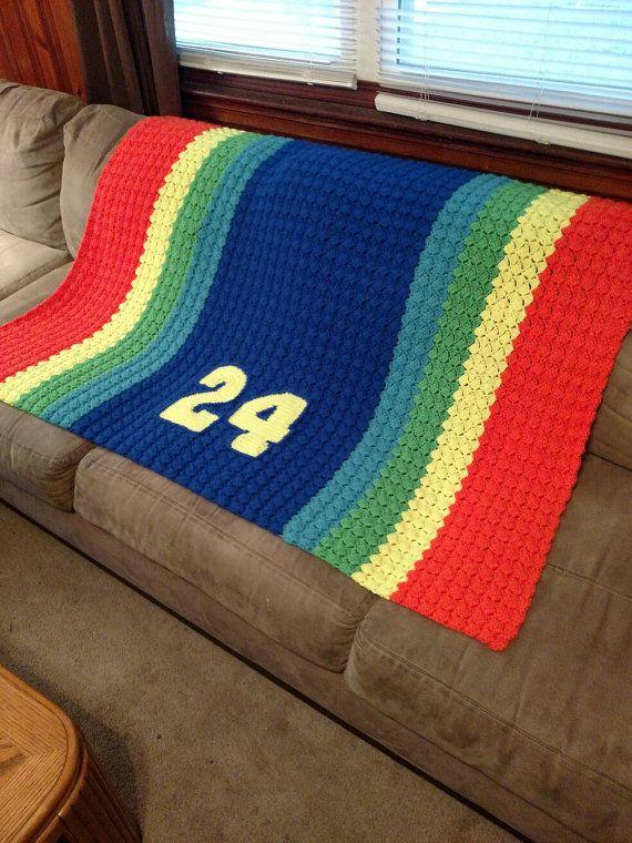 NASCAR Jeff Gordon Rainbow Sprint Car Afghan - Crochet baby NASCAR ...