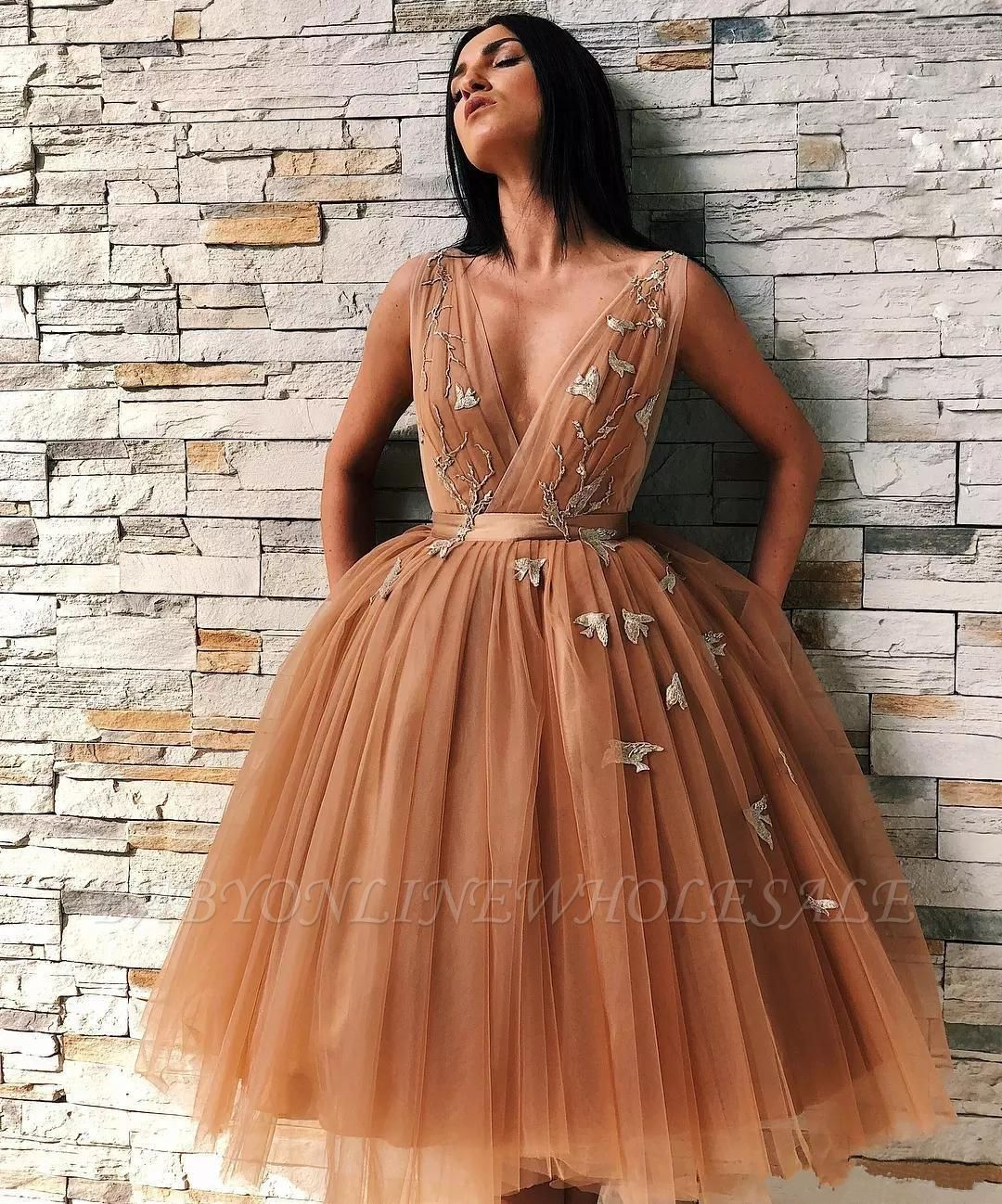 Sexy A-line Tulle Knee Length Prom Dresses With Lace Appliques | Cheap Brown Open Back Party Gowns