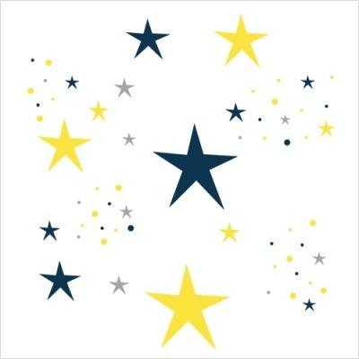 Stickers etoiles magiques bleu nuit et jaune chambre bebe pinterest stickers for Decoration chambre bleu nuit et or