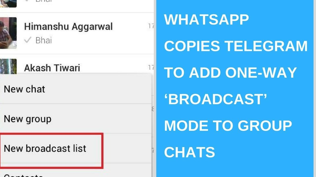WhatsApp copies Telegram to add one-way 'broadcast' mode to group