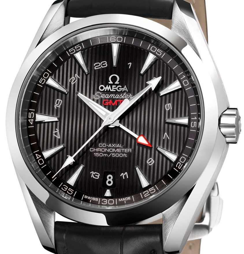 OMEGA. Seamaster Aqua Terra GMT watch stainless steel and black leather strap. POA