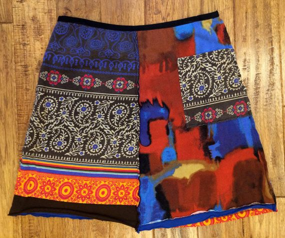 Woman's upcycled skirt Size Large Bohemian by Theupcycledcloset