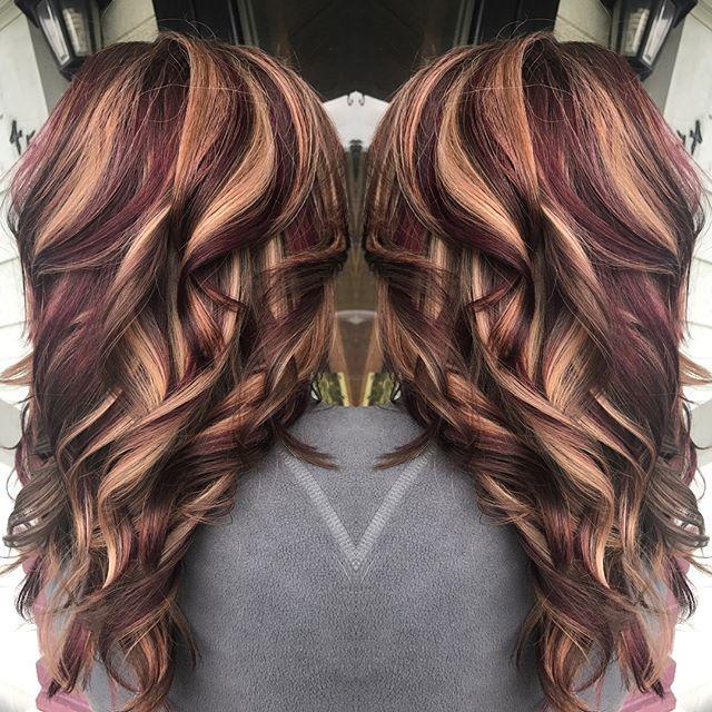 Blonde Maroon Brown Hair Hair Color Flamboyage