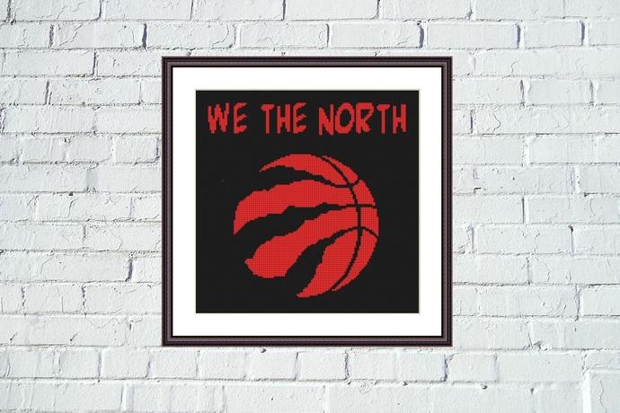 Toronto Raptors Cross Stitch Pattern We The North In 2020 Cross Stitch Patterns Cross Stitch Stitch Patterns