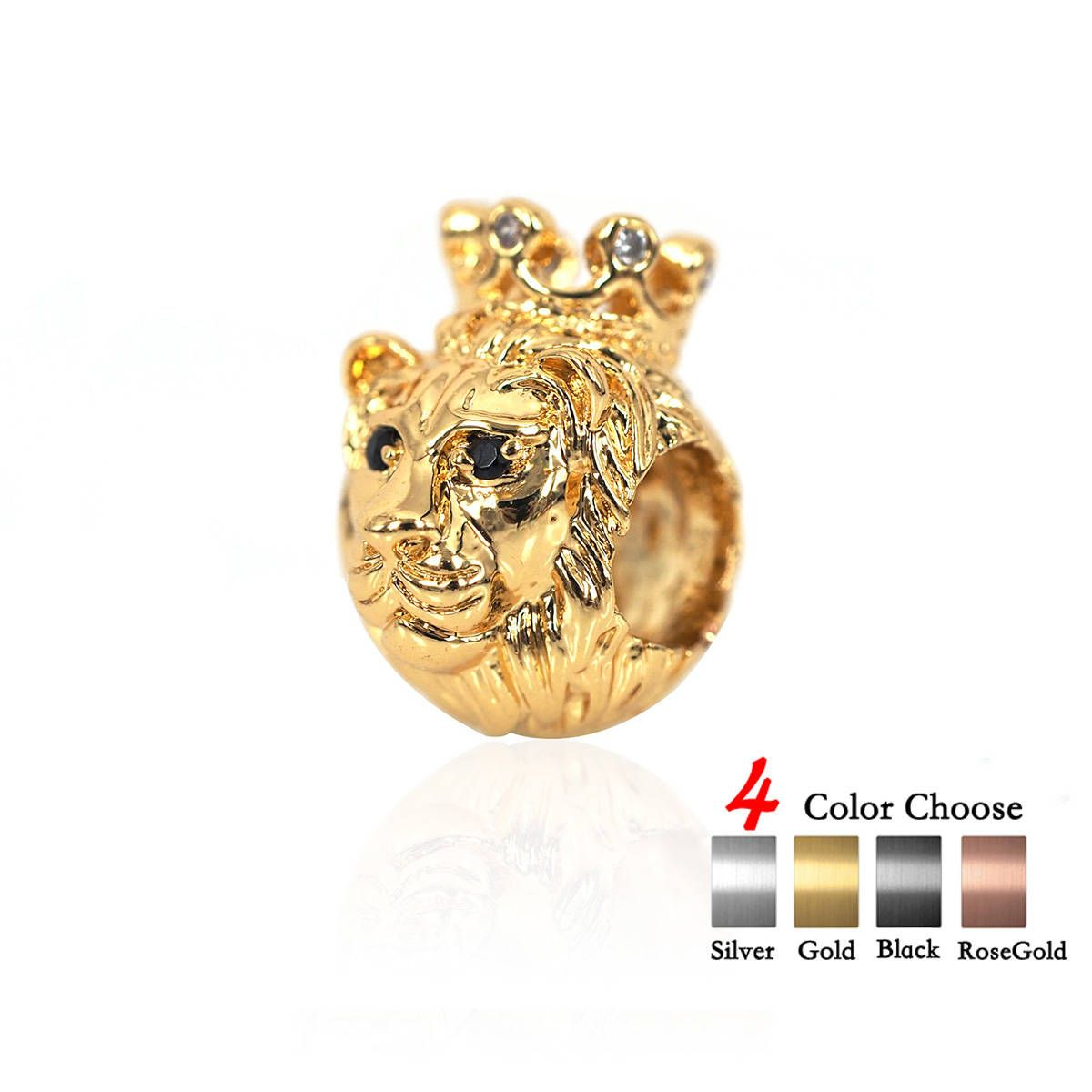Beads Lovely Cz King Crown Lion Head Spacer Beads Micro Pave Cubic Zirconia Charm Beads Large Hole Beads Mens Jewelry Making Findings