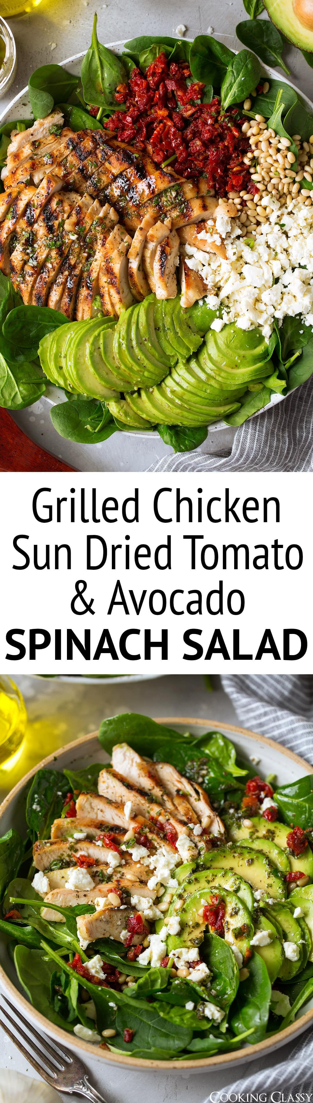 Grilled Chicken Sun Dried Tomato and Avocado Spinach Salad - This is such a flavorful and satisfyin