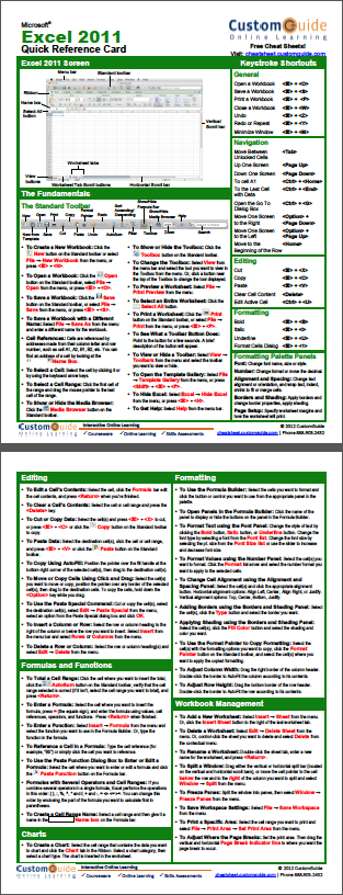 Free Excel 2011 Quick Referenc Card. http//www