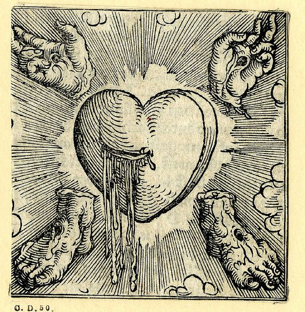 The Five wounds of Christ    Lovely hermetic woodcut printed by Sigmund Grimm, Augsburg, Germany, 1520.    The bleeding heart at centre, the hands and feet with stigmata in the corners; illustration to the German edition of the 'Devotissimae Mediationes', 'Gebet und betrachtungen des lebens des mitlers gotes Jesu Christi', Augsburg: Grimm and Wirsung.