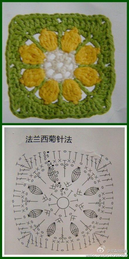 quadradinho de crochê lindo com gráfico   crochet   Pinterest ...