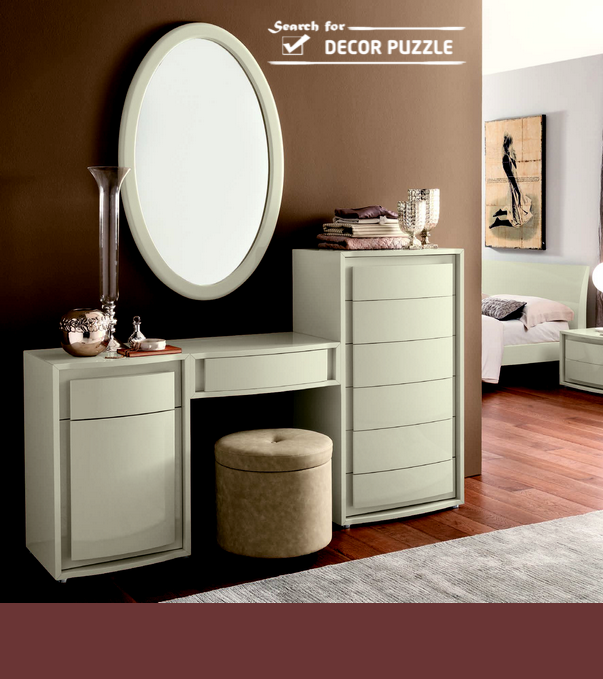 Modern White Dressing Table With Mirror Ans Storage