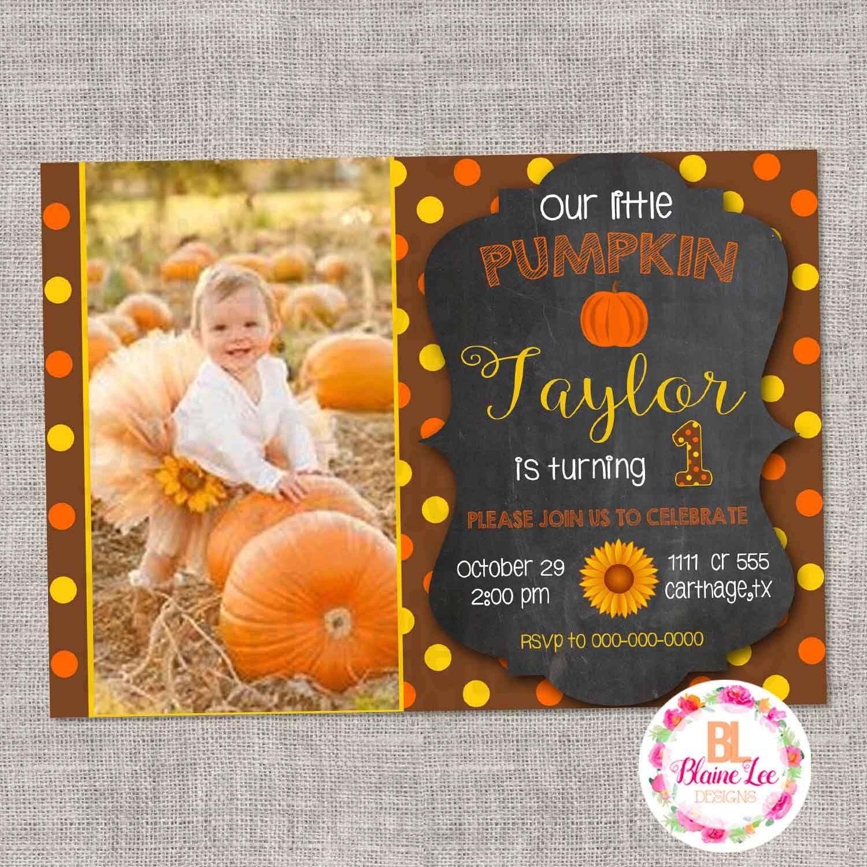 Fall Pumpkin Sunflower Birthday Invitation Digital File by