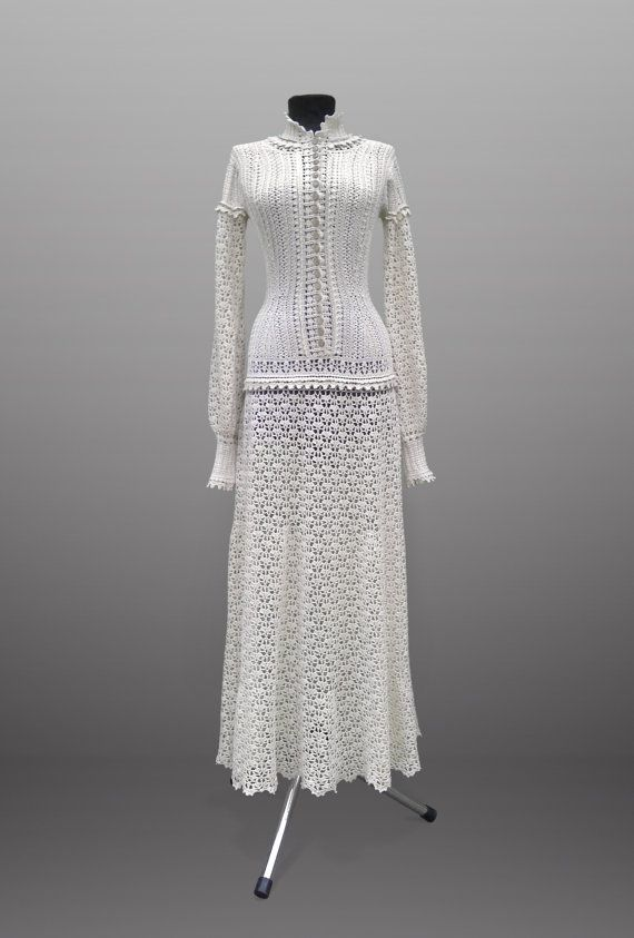 Crochet Dress Emma Ivory Women Handmade Maxi Wedding Or Special