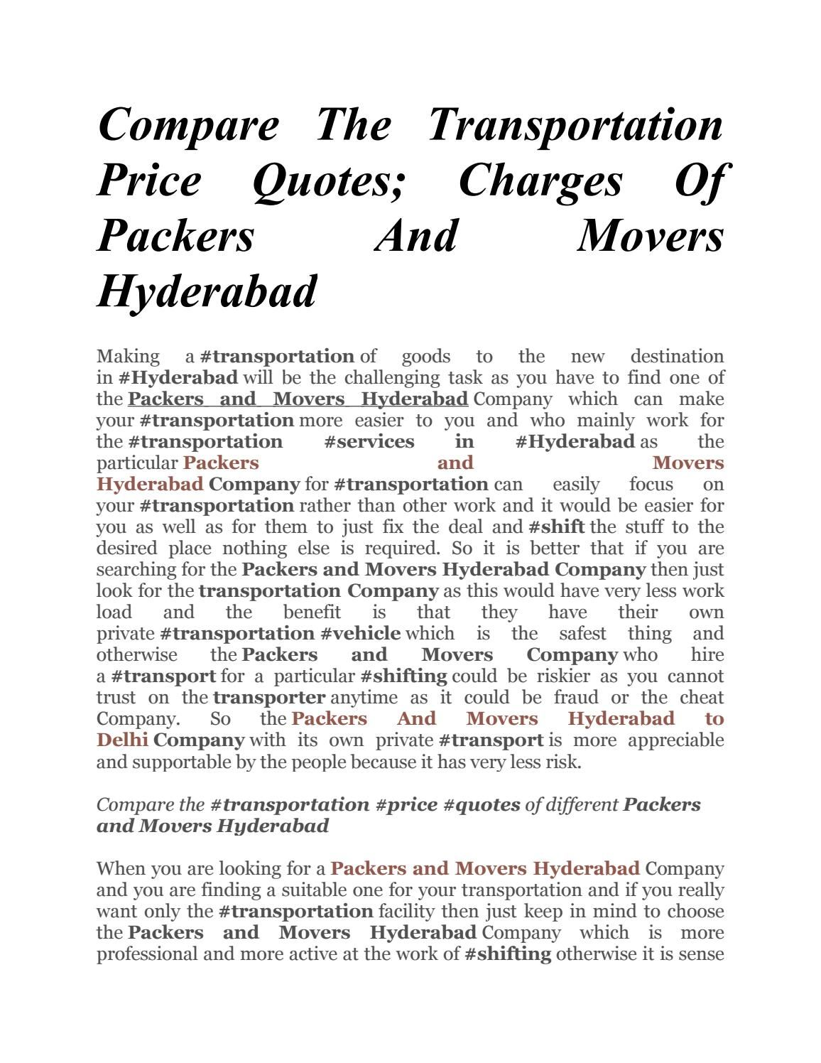 Movers Quote Compare The Transportation Price Quotes Charges Of Packers And