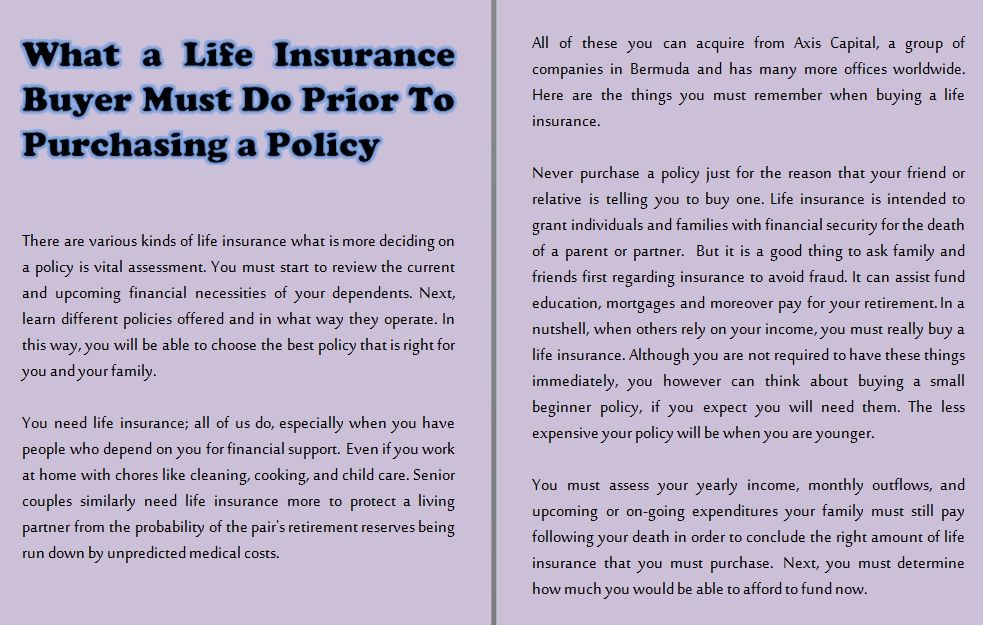 What A Life Insurance Buyer Must Do Prior To Purchasing A Policy