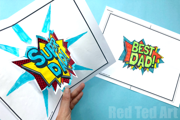 Pop Up Best Dad Card Printable Red Ted Art Make Crafting With Kids Easy Fun Father S Day Card Template Dad Cards Daddy Birthday Card