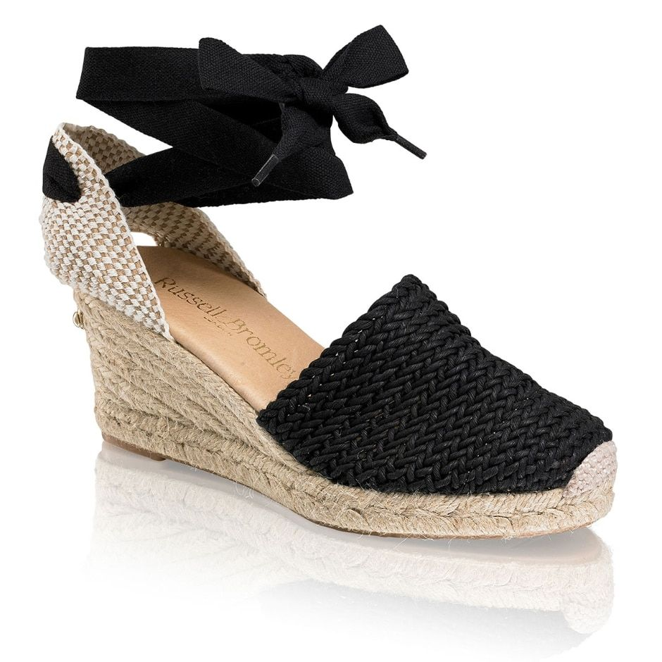 3bc81b995dc COCOWRAP Ankle Wrap Espadrille in Black Fabric | Russell & Bromley ...