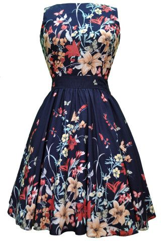 Floral Border Tea Dress