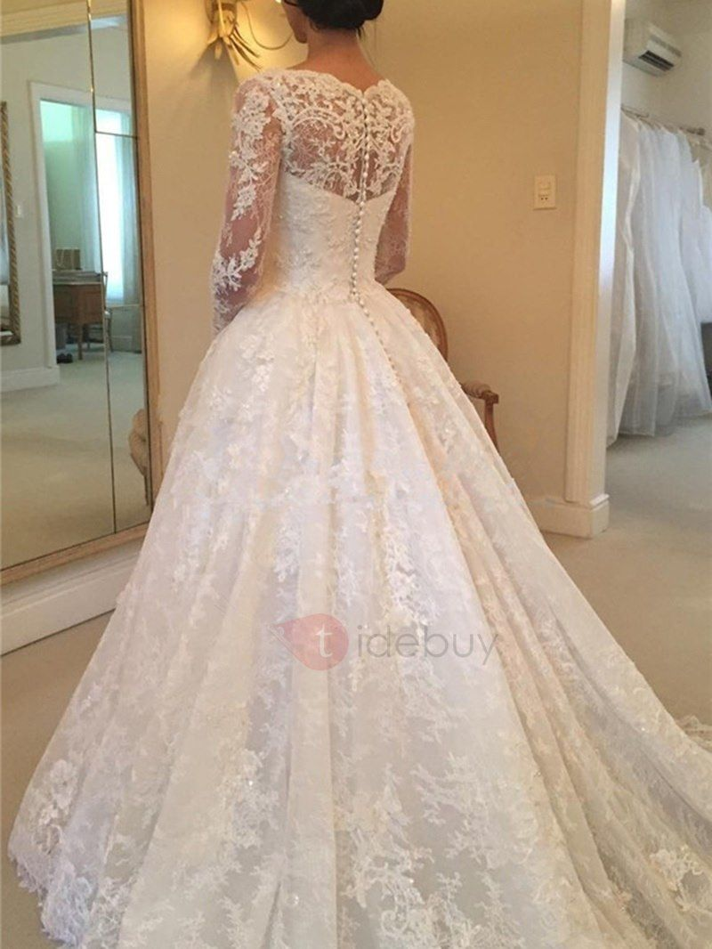 Vintage appliques lace button wedding dress with long sleeves