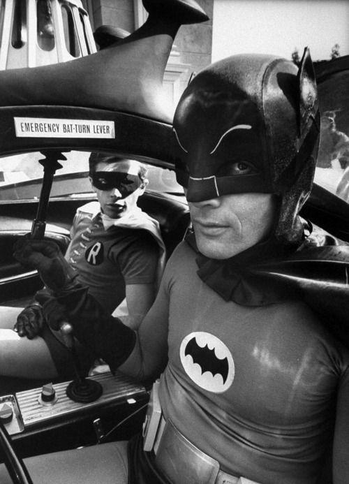 Batman Adam West (R) and Robin Burt Ward (in bat-mobile) during shooting of scene. S)