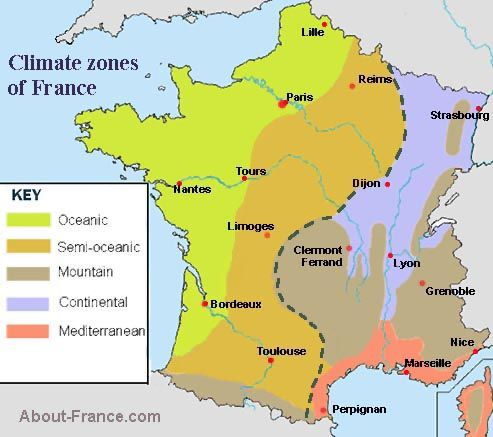 Map of France Climate Zones Maps across borders Pinterest