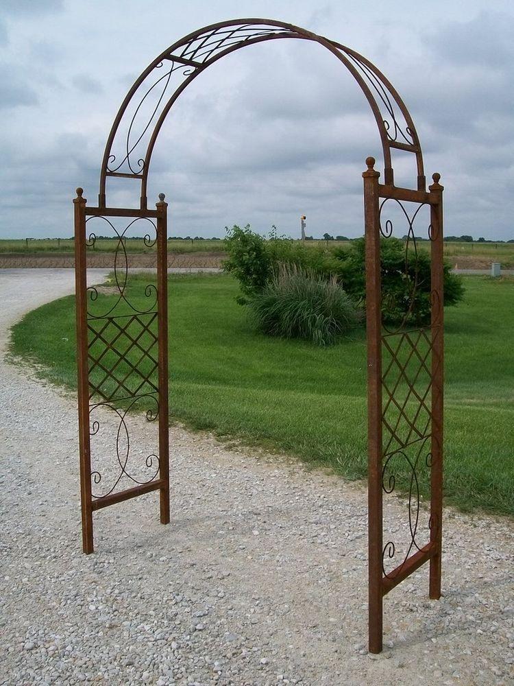 Wrought iron skyview arbor garden arch flower trellis for Trellis or arbor