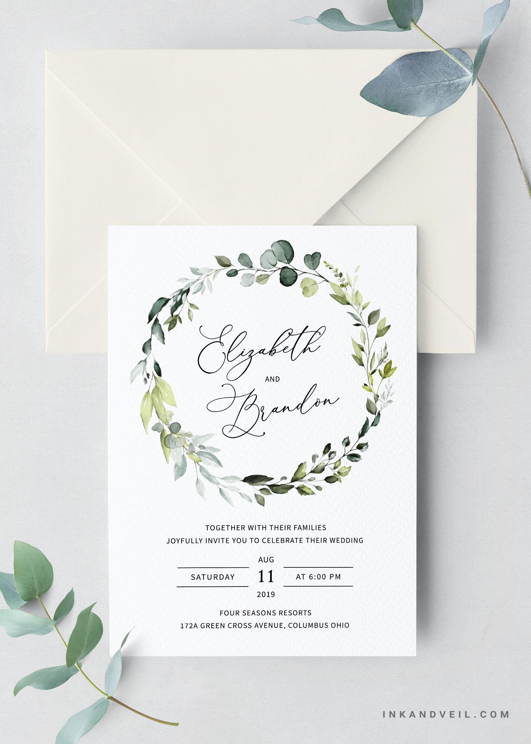 60c0807ccb009 Bohemian Greenery Wedding Invitation Suite, Eucalyptus Watercolor ...