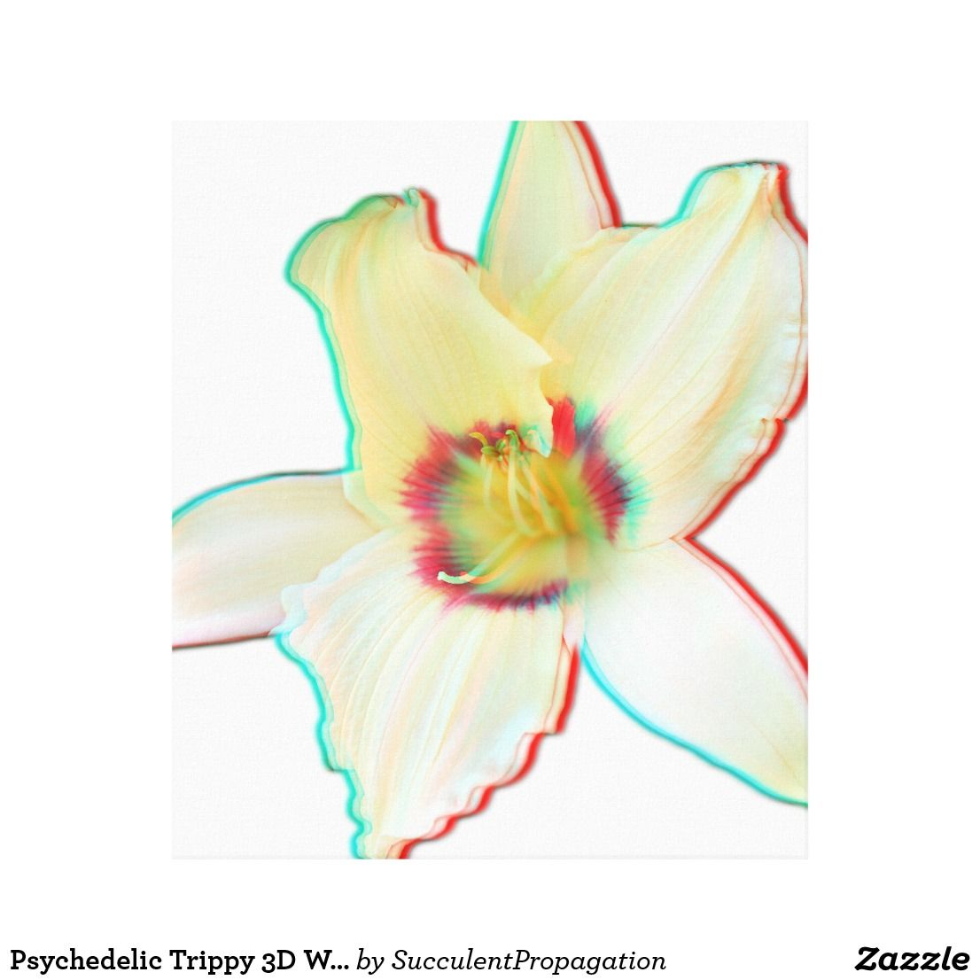 Psychedelic Trippy 3D White Lily Flower canvas Wall art   Home ...