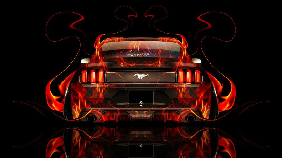 Ford Mustang Muscle Back Fire Abstract Car  2014 Art HD Wallpapers Design By Tony Kokhan [www.el Tony.com]