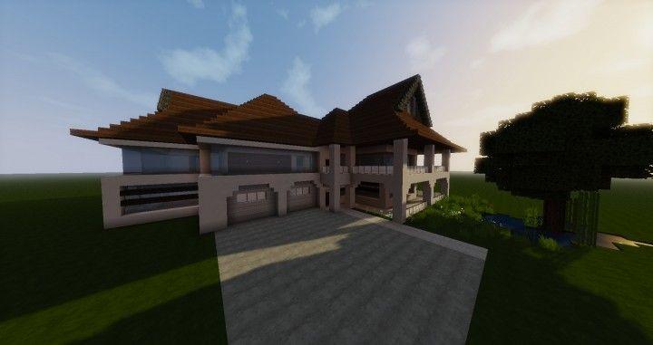 Medium Sized Modern House Minecraft Project Modern House House Minecraft Houses