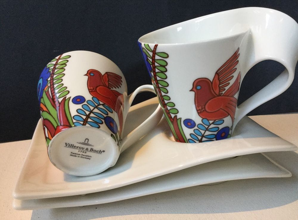 Villeroy Amp Boch New Wave Acapulco Cup Saucer Set Of 2 Germany Birds Flowers Cup And Saucer Set Cup And Saucer Villeroy Boch