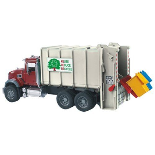 Bruder Mack Granite Back Loading Garbage Truck By Bruder 70 99 Made In Germany Scale 1 16 Two Colored Bins Are Incl Garbage Truck Lego Truck Play Vehicles
