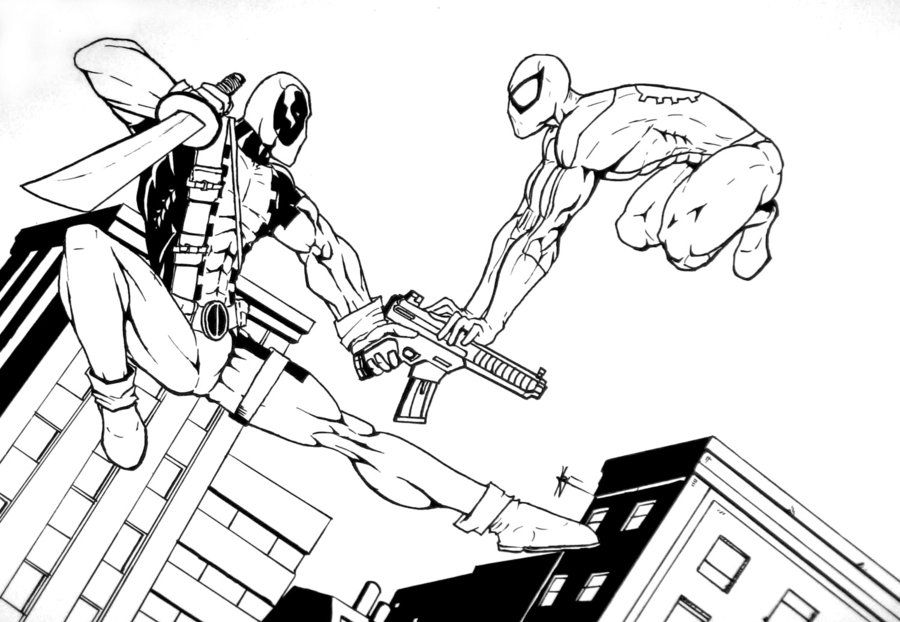 Get This Deadpool Coloring Pages Free Printable 107432: Deadpool Vs Spiderman Coloring Pages