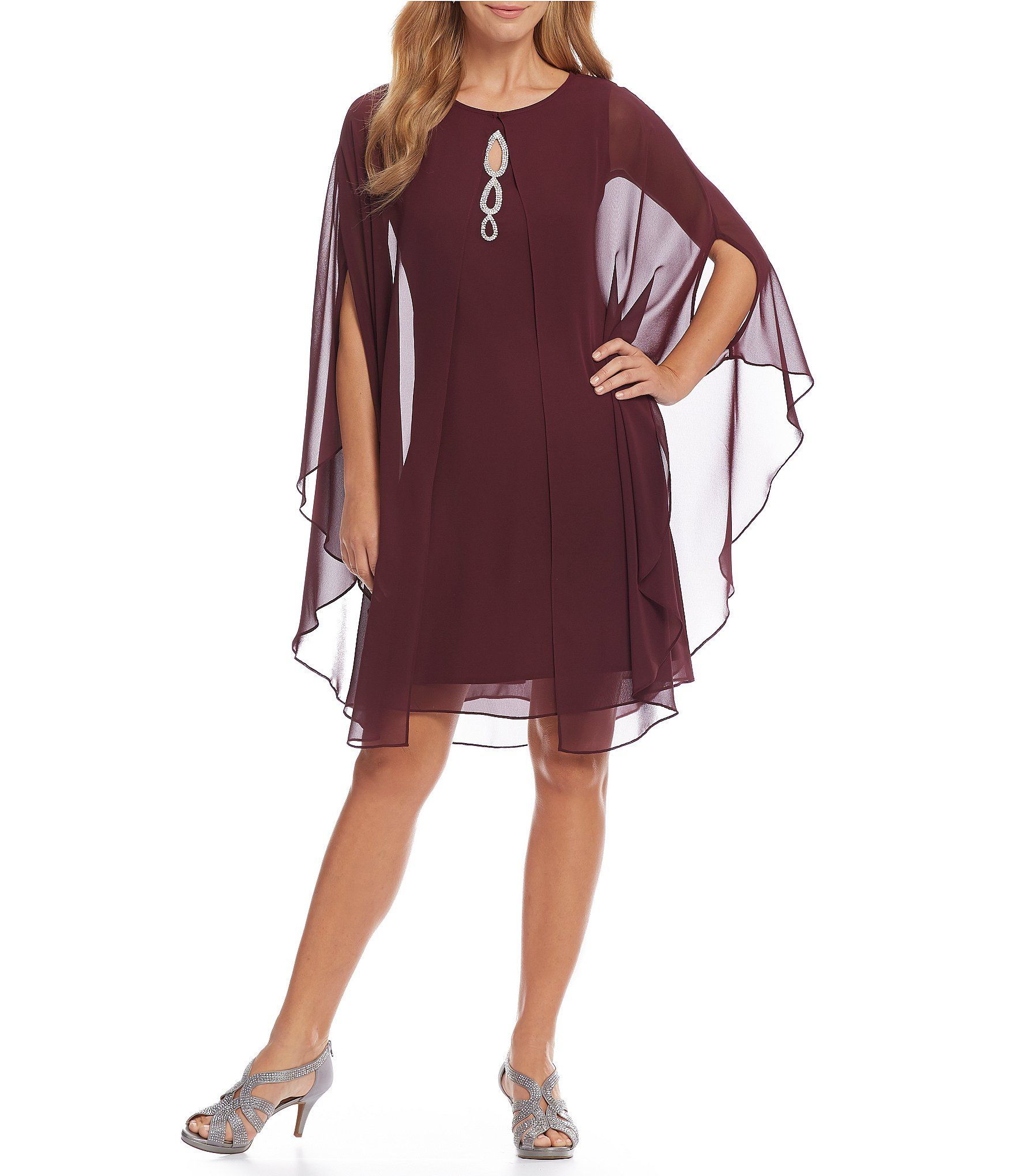 6d904e4da38 S.L. Fashions Beaded High-Neck 2-Piece Capelet Dress  Dillards