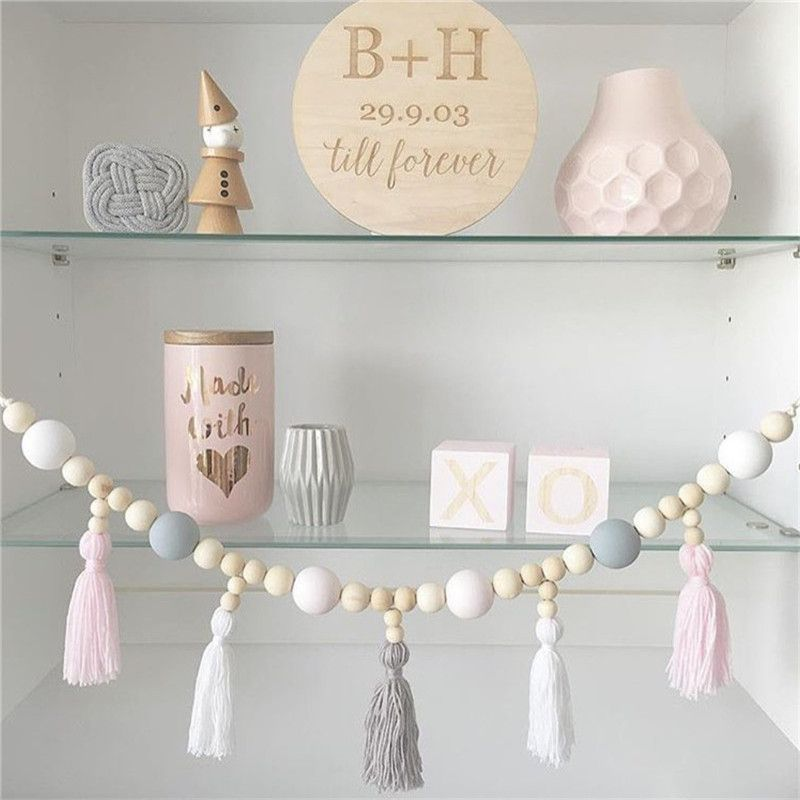 Crib Netting Natural Wood Beads With Tassel Ball Garland Hanging Wall Childrens Baby Room Wooden Hanging Nursery Decor Photography Props Mother & Kids