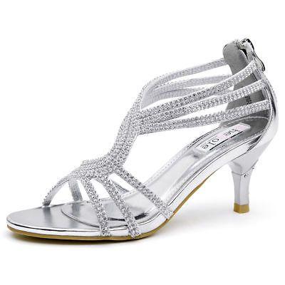 7cc327d1d63 SheSole Womens Sandals Heels Shoes Crystal Silver Wedding Dresses Size 6-11