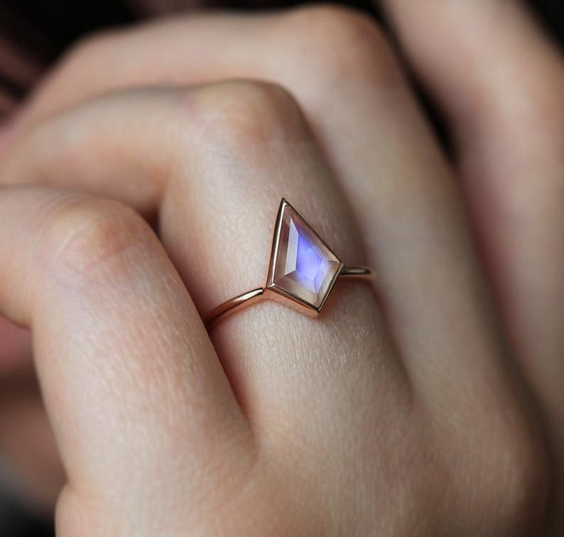 Photo of Blue Moonstone Ring Kite Moonstone Engagement Ring Geometric   Etsy