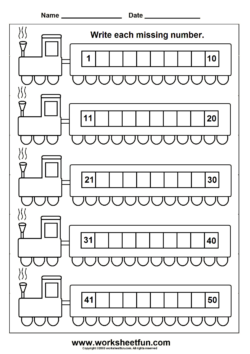 Missing Numbers (1-50) – 6 Worksheets   Kindergarten math worksheets [ 1492 x 1054 Pixel ]
