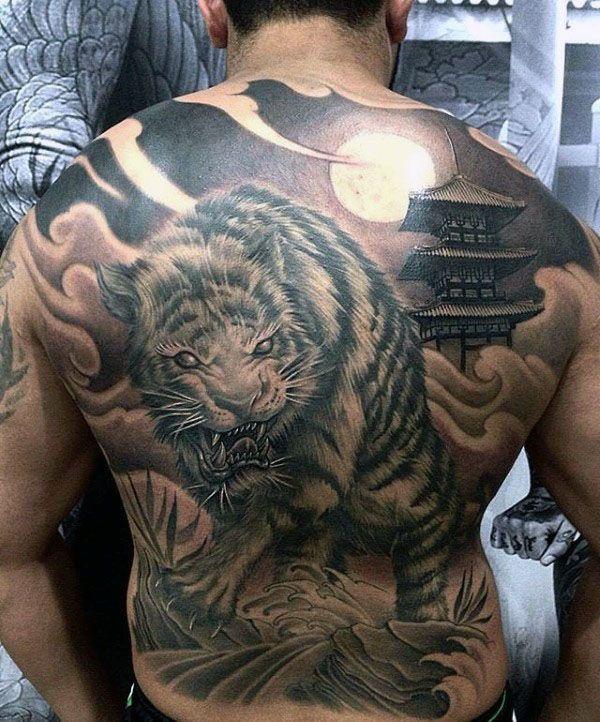 Shaded Japanese Tiger Mens Full Back Tattoo Tiger Tattoo Design Tiger Tattoo Japanese Tiger Tattoo