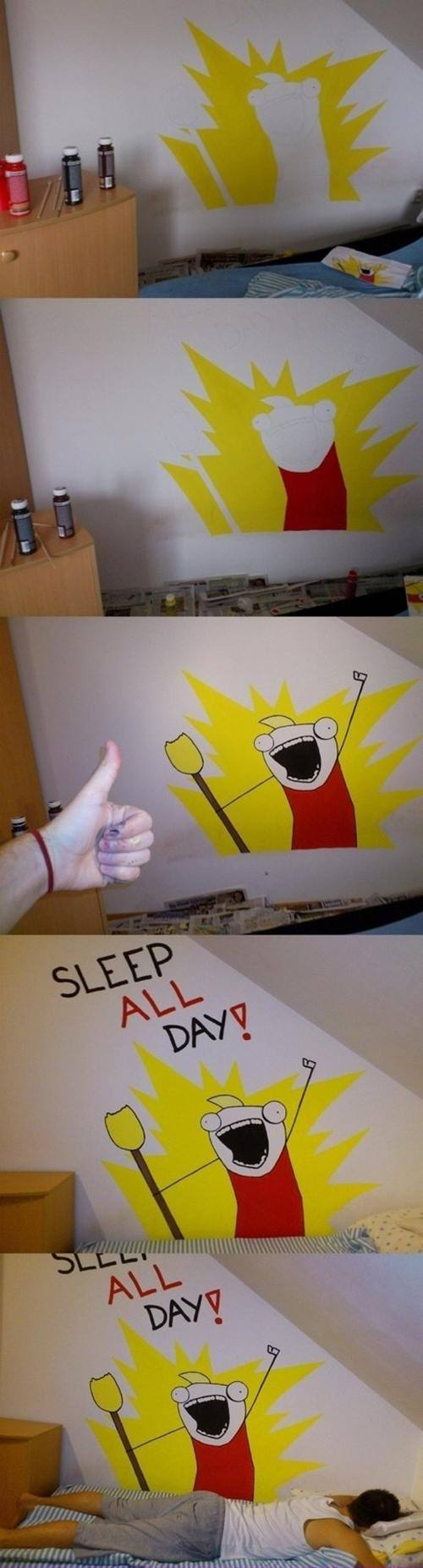 X All The Y All The Things Meme Sleep All The Day Wall Painting