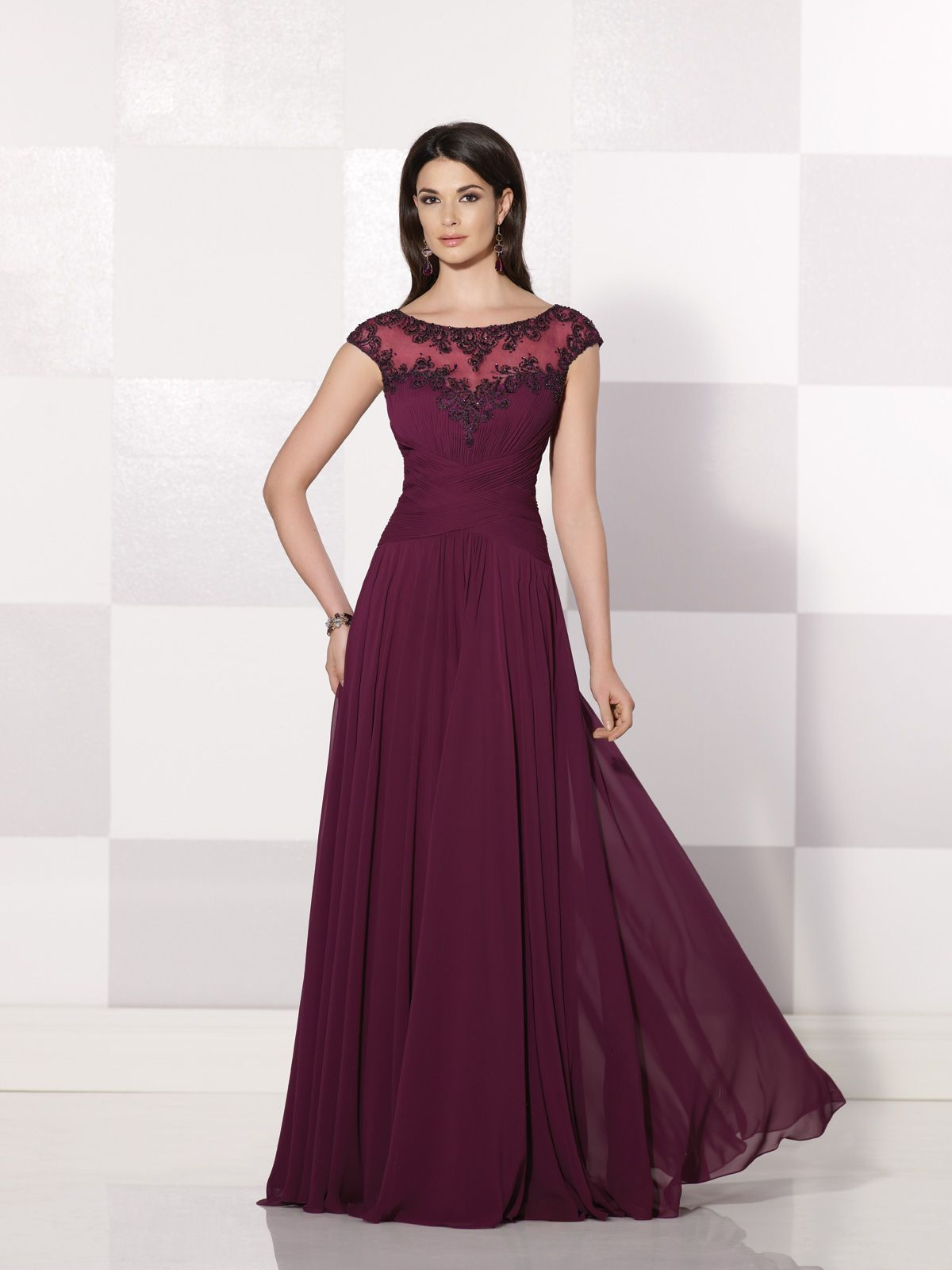 Chiffon A Line Formal Dress With Cap Sleeves Trimmed Hand Beading Beaded Illusion Bateau Neckline Over Sweetheart Crisscross Ruched Bodice