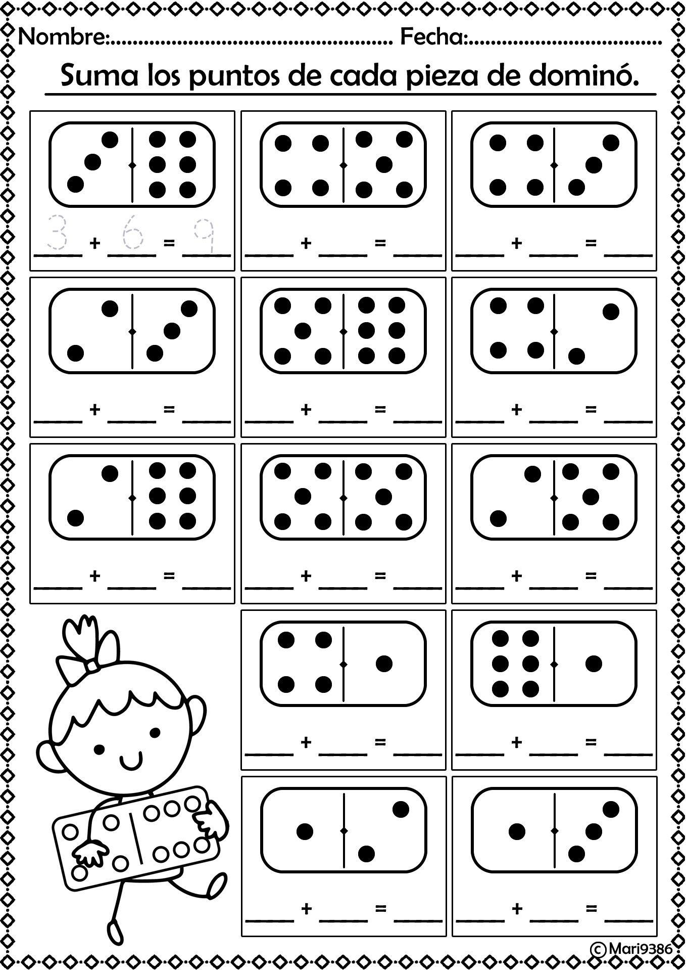 Sumas Con Domino Kids Math Worksheets First Grade Math Math Activities Preschool [ 1918 x 1358 Pixel ]