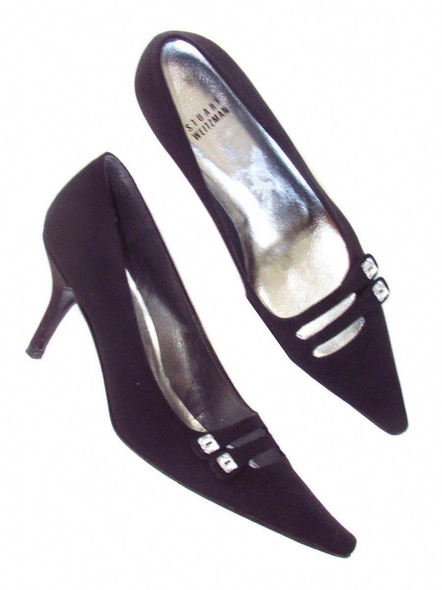 28e20e68a77 Stuart Weitzman Black Pointed Toe Evening Heels with Crystal Button Accent   StuartWeitzman