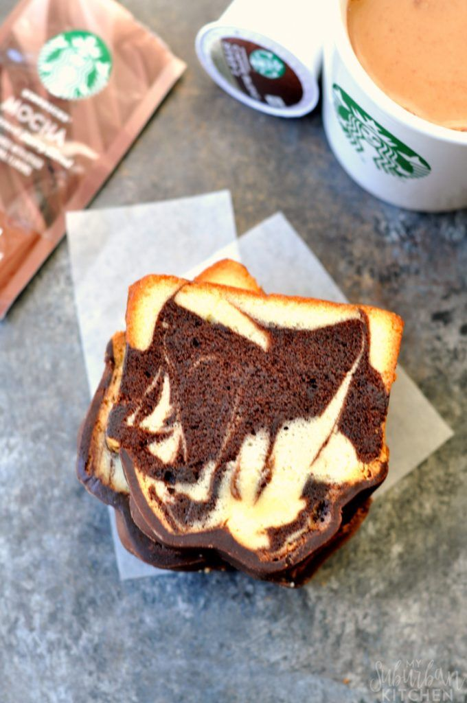 Copycat Starbucks marble pound cake is the perfect compliment to a cup of coffee, latte or even ...